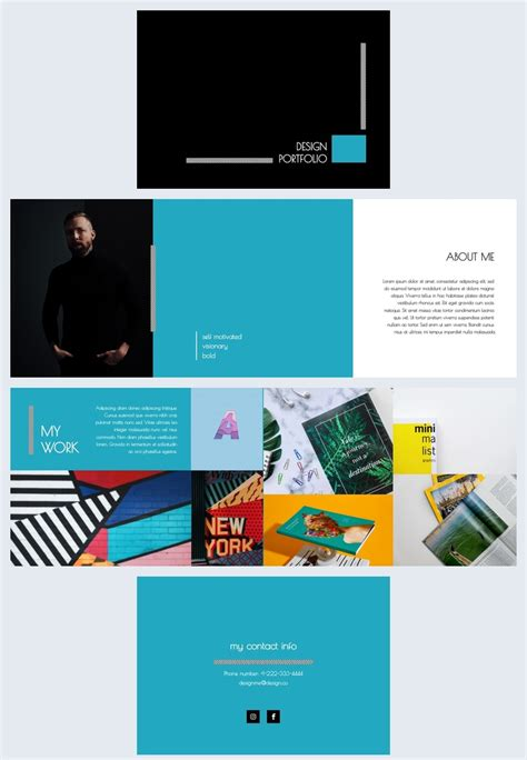 blue themed portfolio design template flipsnack