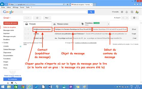 gmail bureau module 1 initiation connexion lire un mail