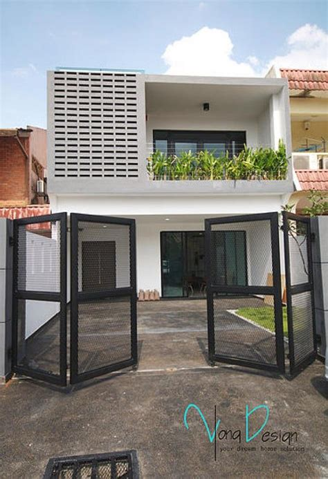 yong studio sdn bhd simple  fascinating terrace house exterior design featuring vented wall