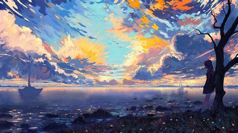 wallpaper  girls anime fantasy coast clouds