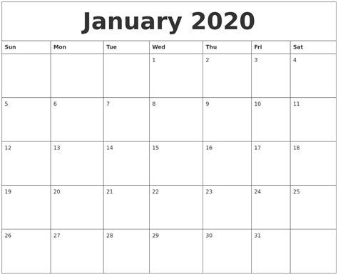 january calendar monthly