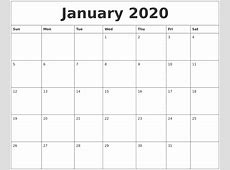 January 2020 Calendar Monthly