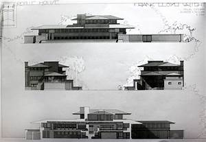 Section & Side View Drawing. Robbie House. Frank Lloyd ...