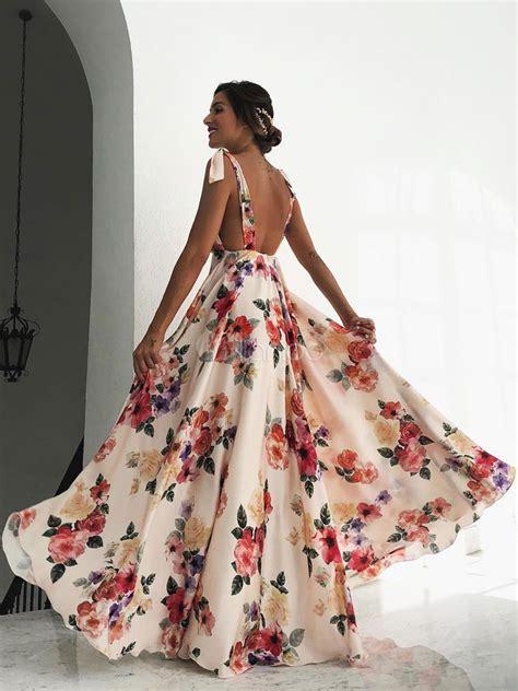 floral maxi dress white  neck backless chiffon boho