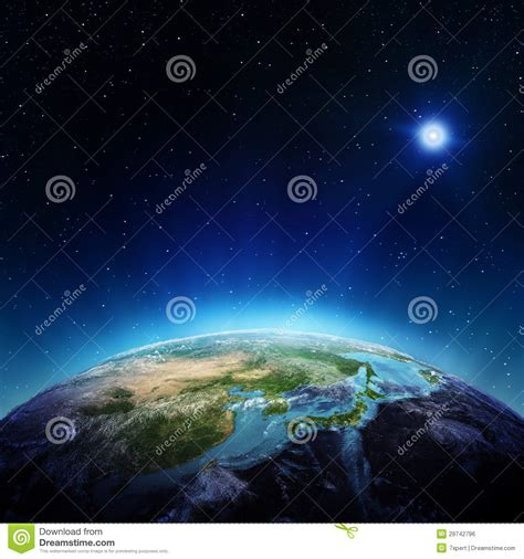 Japan And China From Space Royalty Free Stock Image