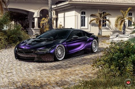 Bmw I8 With Vossen Wheels And Purple Wrap