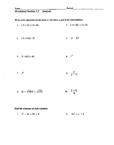 worksheets with imaginary numbers simplifying imaginary numbers worksheet free worksheets