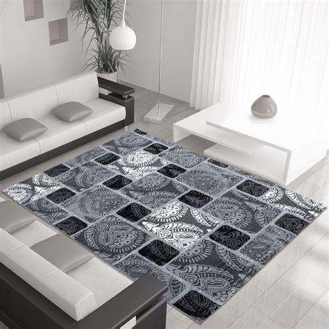 large grey rug modern contemporary squares swirls black beige grey