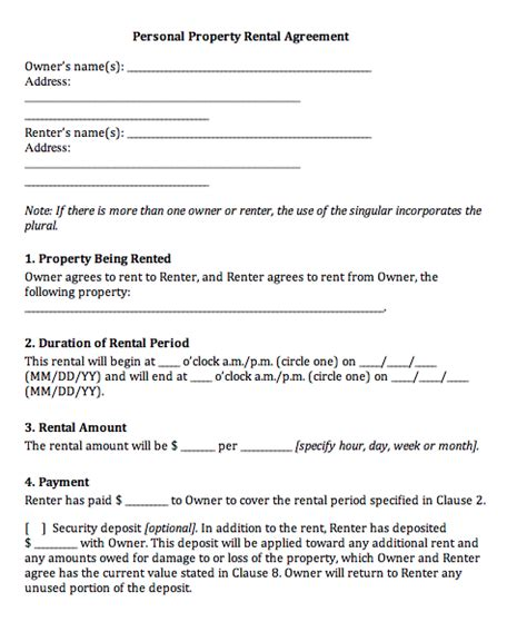Rental Agreement Template Rental Agreement Template Real Estate Forms