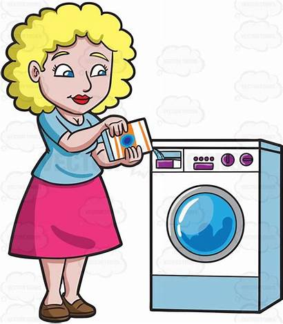 Clipart Washer Laundry Detergent Cartoon Doing Woman