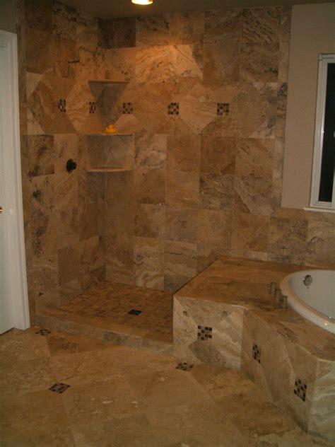 travertine master bathroom tile in