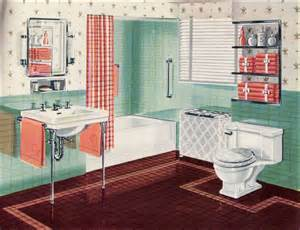 1942 orange green bathroom mid century interior
