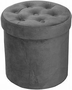 Pouf Gris Anthracite : pouf coffre rond en velours capitonn gris anthracite ~ Teatrodelosmanantiales.com Idées de Décoration