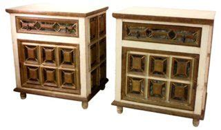 antique cabinets for kitchen colonial chests pair distressed mirror 4081