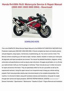 Honda Rvt1000r Rc51 Motorcycle Service Repair By
