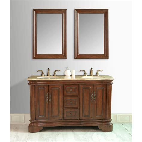 "Stufurhome 58"" Moscone Double Sink Vanity In Walnut Finish"