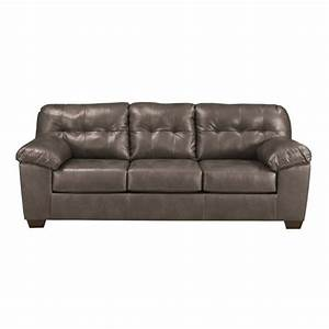 Ashley furniture alliston leather sofa in gray 2010238 for Ashley leather sofa