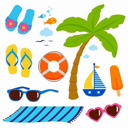 Beach Towel Vector Clip Theme Summer Illustrations