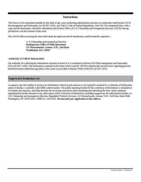 form n 4 monthly report naturalization papers