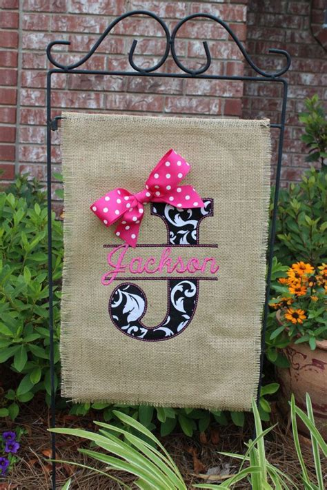 burlap monogrammed garden flag split letter with bow you