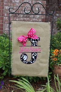 burlap monogrammed garden flag split letter with bow you With letter garden flags