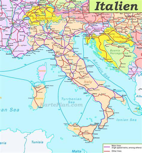 schienennetz karte von italien