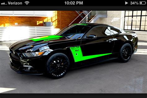 Ford Mustang 2015 Gt Black And Green Stripe