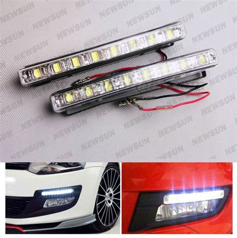 2pcs xenon white led car auto drl parking driving daytime
