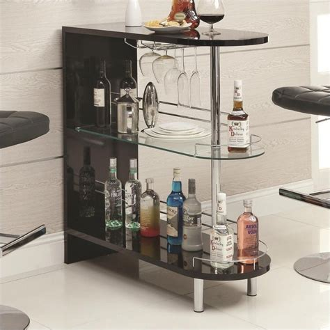 Home Bar Glass by Coaster Contemporary Home Bar Table With Glass Shelf In