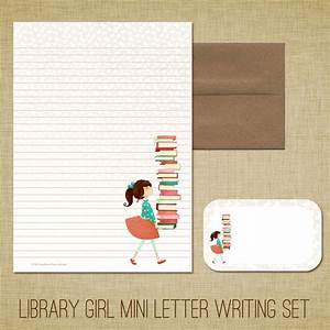 mini letter writing set library girl cute kids With personalized letter writing set