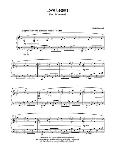 piano sheet with letters letters from atonement sheet by dario 20289