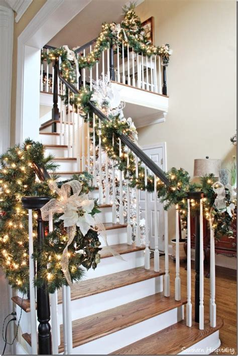 stairwell christmas garland lighting my s home 2013 southern hospitality
