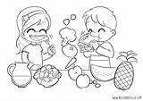 Coloring Healthy Pages Eating Children Nutrition Choices Colouring Easy Veggies Foods Treats Clipart Child Living Bad Meals Eat Printable Vegetables sketch template
