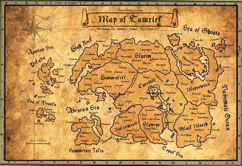 ancient map  tamriel elder scrolls skyrim map map