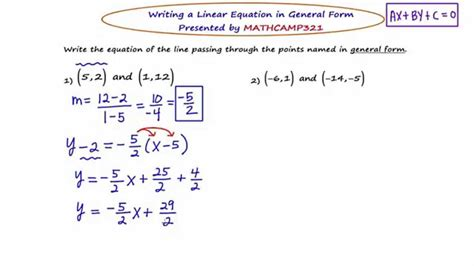 General Form Equation Of A Line Tessshebaylo