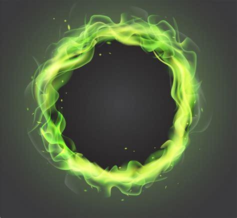green flames frame  vector freebies psd