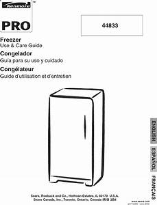 Kenmore Pro 25344833600 User Manual Freezer Manuals And