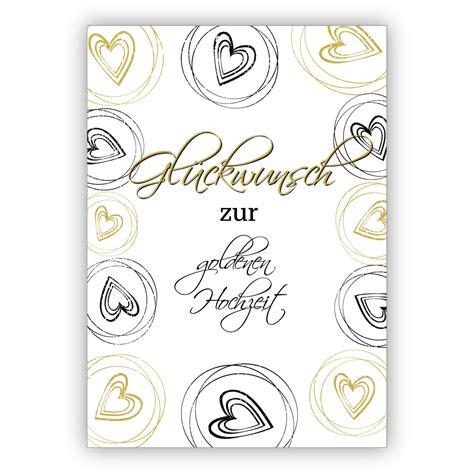 elegante glueckwunschkarte mit herzen zur goldenen hochzeit