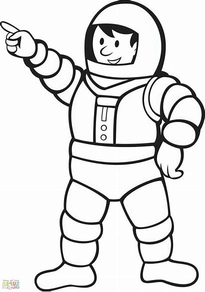 Astronaut Coloring Helmet Space Pages Spaceman Drawing