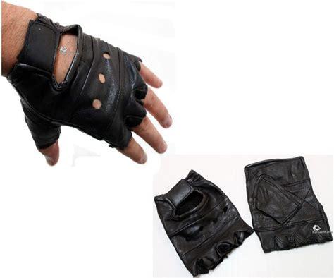 Mens Man Boy's Unisex Leather Fingerless Gym Driving