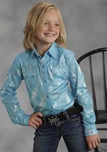 Blue Swirl Shiney Swirl Printed Shirt Roper Girls Shirts Urban