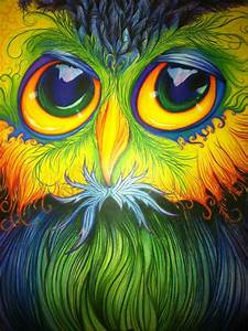 Pencil Crayon Drawing Of An Owl  All Freehand