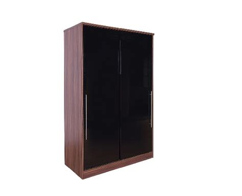Gfw Modular 2 Door Walnut And Black Gloss Sliding Wardrobe