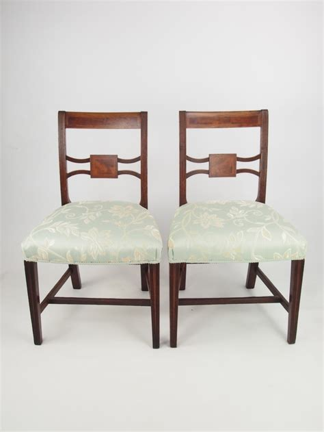 pair antique regency side chairs with inlay georgian