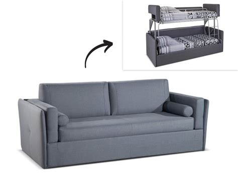 canap transformable en lit canapé 3 places convertible superposé en tissu gris chana