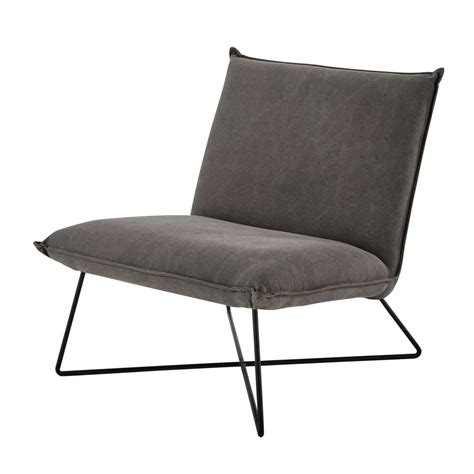 fauteuil en coton gris lucas maisons du monde