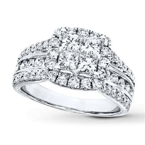 Diamond Engagement Ring 2 Ct Tw Princessround 14k White