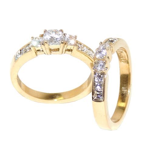 womens engagement rings gold engagement rings sets for gold ion plated stainless steel womens engagement ring set