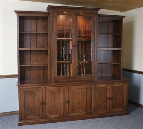 Bookcase With Gun Cabinet by Bookcases Gunsafe Amish Custom Gun Cabinets