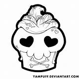 Cupcake Kawaii Coloring Skull Yampuff Cupcakes Deviantart Evil Colouring Valentine Sheets Lineart Drawings Printable Caveira Coloriage Template Gemerkt Video Gracias sketch template